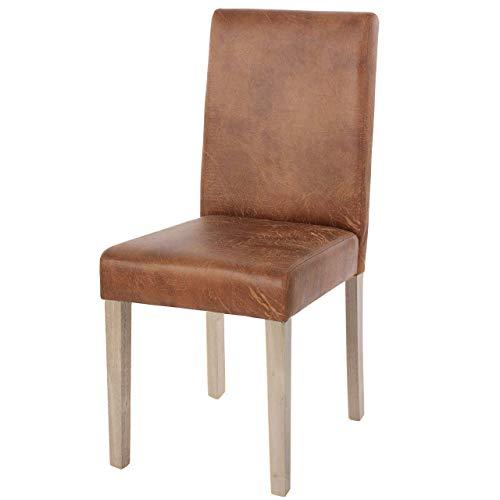 Mendler Esszimmerstuhl Littau, Küchenstuhl Stuhl, Stoff/Textil - Wildlederimitat, braune Beine