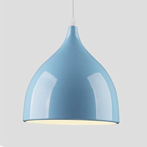 Lámpara Vintage Colgante Luz Industrial Lámpara de Techo Retro Candelabro de aluminio moderno, E27, para bar dormitorio restaurante cabeza simple (sin bombilla) Azul cielo