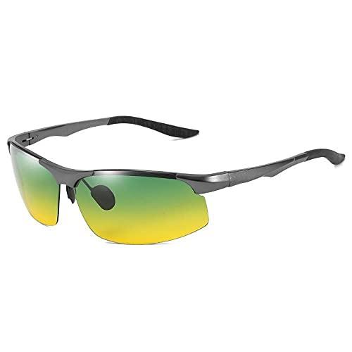 XXBFDT Gafas Sol Hombre Polarizadas, Deportivas - Gafas de sol cambiantes de color de magnesio de aluminio-Caja de armas día y noche