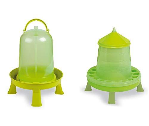 GarPet Geflügeltränke und Futterautomat Set mit Stand Füße automatisch Hühner grün Set 2.