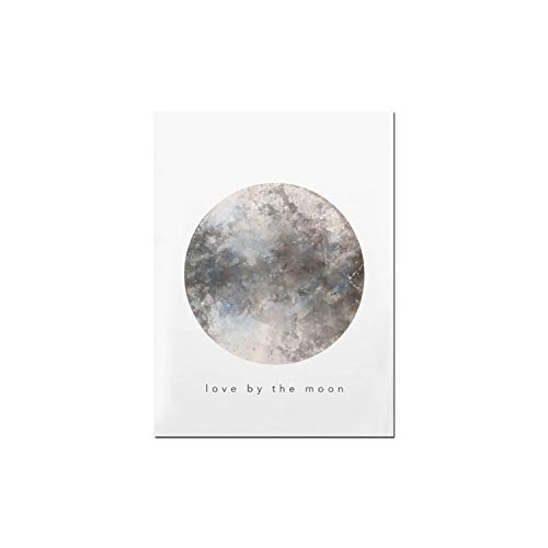 Mo Duo Wall Art Sun and Moon Watercolor Canvas Art Prints Painting for Living Room Nordic Picture Poster Decor,15x20cm No Frame,02FX11