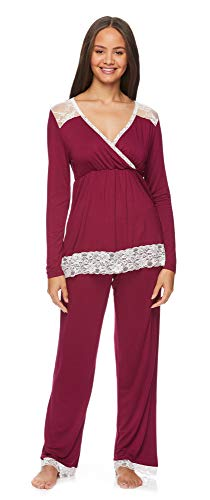 Lamaze Intimates Womens Maternity Pajama Set Labor Delivery and Nursing PJs for Breastfeeding Raspberry Large