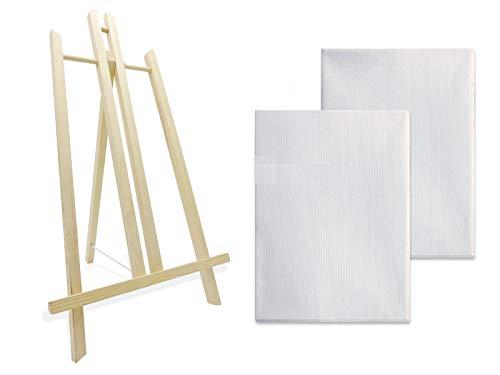 Caballete de madera para pintar con dos lienzos blancos preestirados ideal para soporte de lienzos pinturas óleo, acrílicas o exposición de cuadros (50CM)