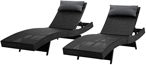 Mcombo Patio Chaise Lounge Chair, Black Outdoor PE Wicker Lounge Chair with Adjustable Backrest Resin Rattan Reclining Furniture in Steel Frame(330LB Weight Capacity) for Pool,Beach 6082-LCBK