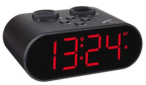 TFA Dostmann 60.2551.01 Ellypse Réveil numérique sans Fil avec Chargement USB, Chiffres Lumineux LED, 15,2 x 11,6 x 9,8 cm, Noir, Plastique