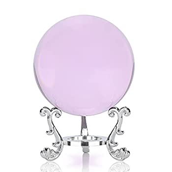 Crystal Pink Crystal Ball with Silver Crystal Ball Bracket and Gift Box for Decorative Ball Photography Sphere Lensball Gazing Divination Fortune Telling Ball  Pink 60MM