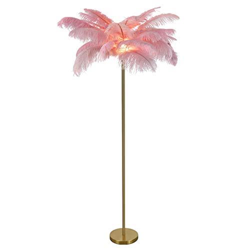 EIU Lámpara De Pie LED, Lámpara De Pie Moderna con Decoración De Plumas, Lámpara De Lectura Estándar con Luz Alta para Dormitorio Y Sala De Estar(Color:Un Rosa)