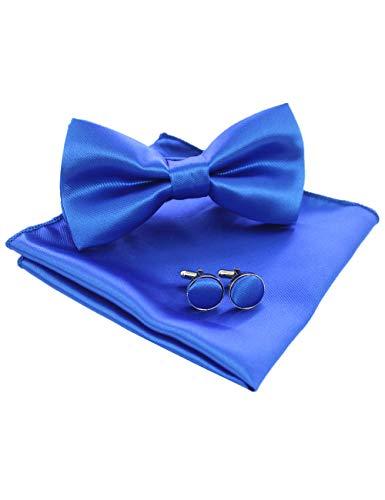 JEMYGINS Blau Fliege und Einstecktuch mit Manschettenknöpfe Sets für Herren Hochzeit Seidenfliegen(1)