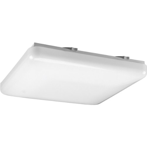 Progress Lighting P7379-30 Traditional One Light Close-to-Ceiling from Acrylic Square Collection in White Finish, 15-Inch Width x 3-1/8-Inch Height