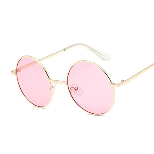 KANGDE Gafas de Sol Redondas de Metal clásicas Vintage para Mujer, Gafas Transparentes pequeñas, Sombras para Mujer UV400