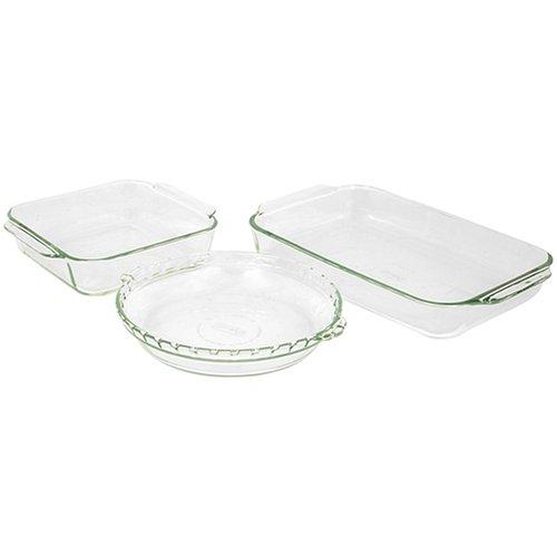 Pyrex Bakeware 3-Piece Baking Dish Set, Clear