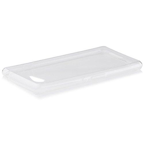 iCues Schutzhülle kompatibel mit Sony Xperia E3   Ultra Slim TPU Hülle Klar   [Bildschirm Schutzfolie Inklusive] sehr Dünn Transparent Silikon Gel Hülle Cover Schutz