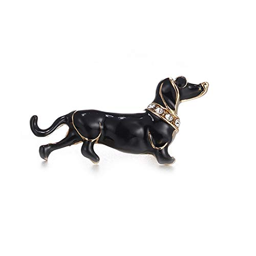 HJUEY Pet Dog Full Body Lapel Pin, Sparkly Dachshund Dog Puppy Animal Collection Accessories Brooch Pin,Black