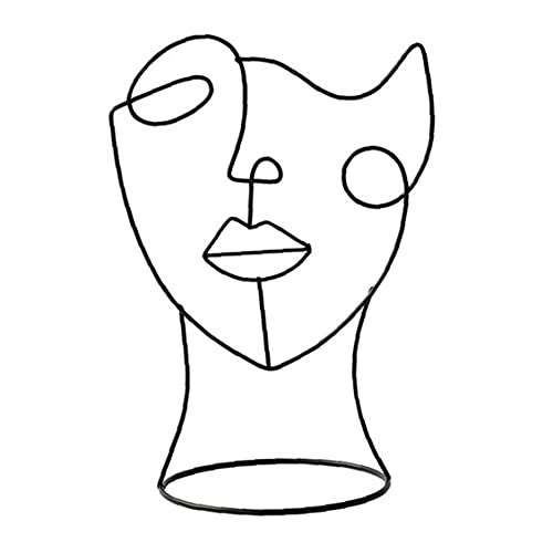 NIDONE Abstrakt Gesicht, Skulptur, Modern, Metall, Charakter Figur Kunst Handwerk Statue Ornament Schwarz
