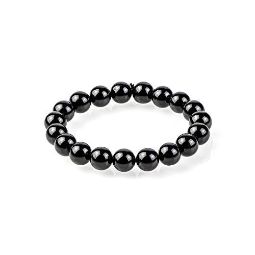 Schorl Turmalin Perlen Armband | Geladenes Schwarzes Turmalin-Armband für Männer und Frauen - Armband aus schwarzem Turmalinstein | Dehnbarer Stil