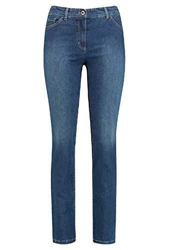Gerry Weber Damen 5-Pocket Jeans Straight Fit Klassische Passform Blue Denim mit use 48