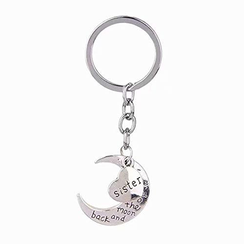 LINSUNG Porte-clés Membres de la famille Accessoires Pendentif Lettre Love Heart Moon Bijoux Accessoires Anniversaire Action de Grâces Cadeau de Noël Clé Porte-boucle