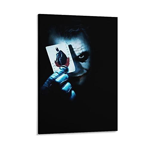 Póster de película de caballero oscuro con texto en inglés «He Dark Knight Joker» para decoración de la sala de estar, dormitorio, marco de 60 x 90 cm