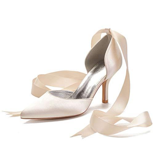 QXue Scarpe da Sposa Donna Raso Scarpe da Ballo mit Nastro Latino Nozze Sposa Scarpe 35-43,Champagne,39 EU