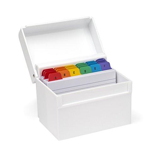 Osco–Papelera de plástico blanco brillante caja de índice con tarjetas y pestañas de colores