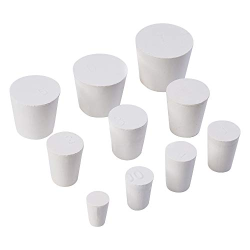 22 Pack 000# -7# White Solid Rubber Stoppers