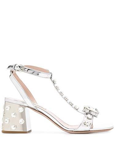 Miu Miu Luxury Fashion Damen 5X977C3L1NF0118 Silber Leder Sandalen | Frühling Sommer 20