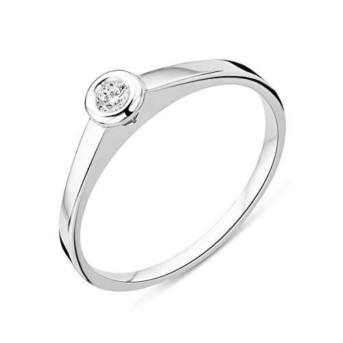 Miore - Anello solitario da donna in oro bianco 9 carati / oro 375 con diamante brillante 0,05 ct e Oro bianco, 52 (16.6), cod. MU9042R52