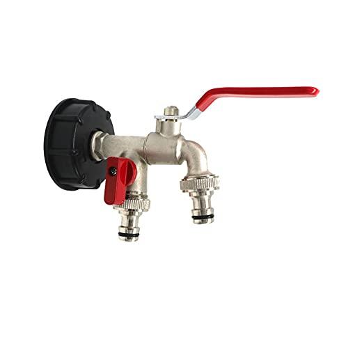 grifo deposito 1000 litros Conector de tanque de combustible Jardín Agua Doble Connector Faucet Adaptador Jardín Tanque de agua Conector Tacón de agua Tapón de agua Fitting1PCS grifo bidon 100