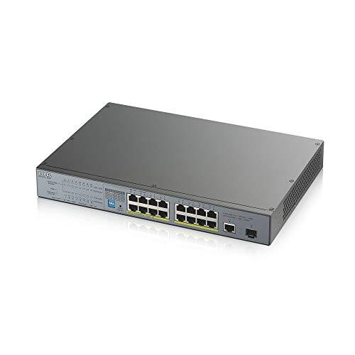 Zyxel - Switch Gigabit non gestito PoE+ a 16 porte, un budget di 170 Watt, una porta Gigabit rame e una porta SFP, switch PoE Long Range [GS1300-18HP]
