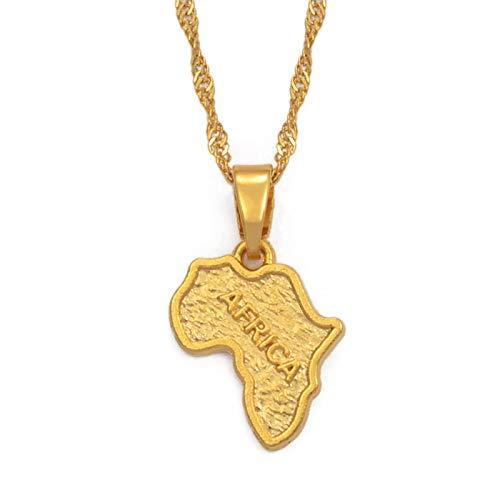 Collar Colgante Unisex, África Mapa Collar De Encanto De Oro Para Las Mujeres Hombres, Cadena Personalizada De Joyas De La Suerte - Regalo Del Día De La Madre - Parejas Accesorio De Fiesta De Novia