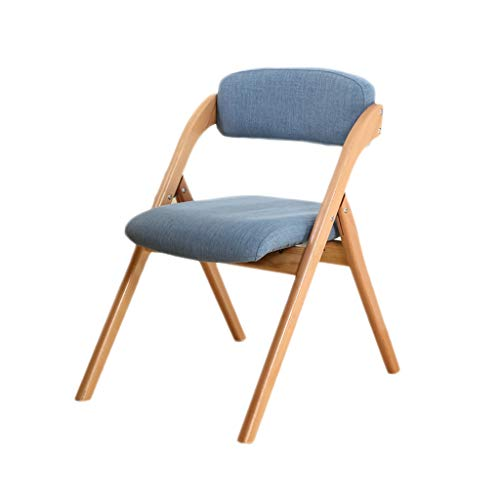 TD26 Chaise pliante vert bois massif, hêtre, coton et veste en lin, tapis en éponge haute élasticité, chaise d'ordinateur à la maison salon chambre à manger