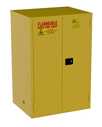 Jamco Products Model BM90 90-Gallon Safety Steel Cabinet for Flammable Liquids Manual Close Doors, (43-Inch x 34-Inch x 65-Inch), Yellow