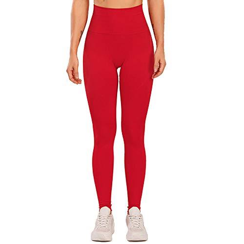 Mayas Deportivas Mujer,Pantalones de Yoga sin Fisuras de Cintura Alta, Pantalones de Aptitud del Abdomen Absorbente de Sudor-Rojo_S,Mujer Fitness Mallas Push