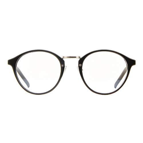 Cyxus filtro luce blu occhiali rétro tondo telaio [ ceppo anti-occhio ] Anti affaticamento della vista ottimo per computer/gioco/telefono (Classico nero)