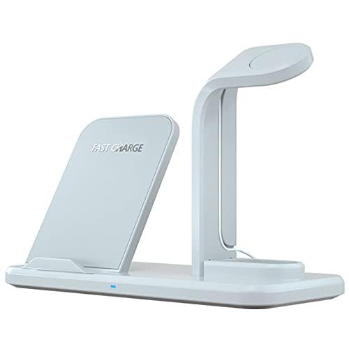 Tree-it-Life Caricabatterie Wireless Qi 3 in 1 da 15 W per Apple Watch SE 6 5 4 per iPhone per Samsung S20 S10E S9 Supporto di Ricarica rapido Bianco