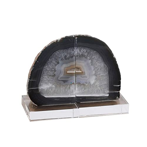 LITINGT Sujetalibros Sujetalibros de ágata Natural Extremos de Libro de Piedra Pesada 1 par Sujetalibros de Corte Pulido con Base de Cristal 1.53 kg / 3.37Lb, Sujetalibros Decorativos en 5 Colores