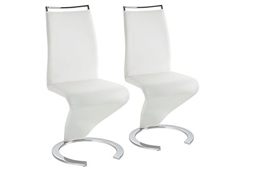 Homexperts Stuhl Helen / Qualitativ hochwertiger Stuhl mit Lederimitat in weiß / 49,5 x 61,5 x 100,5 cm