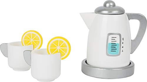 Small Foot 11115 Tee-Set mit Wasserkocher Kinderküche aus Holz, Rollenspielzeug für Kinder ab 3 Jahren Spielzeug, Mehrfarbig