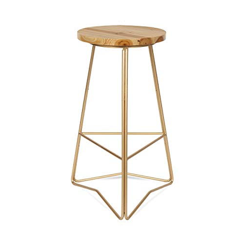 Kate and Laurel Godwin Backless Modern Counter Height Bar Stool, 25-Inch, Gold Metal Base with...