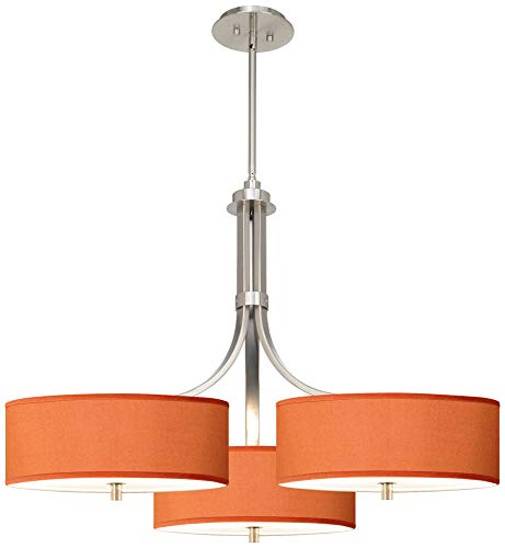 "Orange Faux Silk 36"" Wide Triple Shade Pendant"