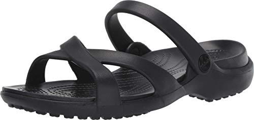 Crocs Meleen Crossband Sandal W, Sandalias de Punta Descubierta para Mujer, Negro (Black 001), 37/38 EU