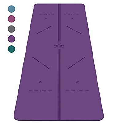 "Heathyoga ProGrip Non Slip Yoga Mat with Alignment Lines, Revolutionary Wet-Grip Surface & Eco Friendly Material, Perfect for Hot Yoga and Bikram, Free Carry Bag 72""X26"" (Purple)"