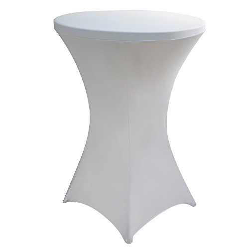JISEN Cocktail Spandex Fitted Stretchable Elastic Square Corners Tablecloth 24x43 Inch A-White