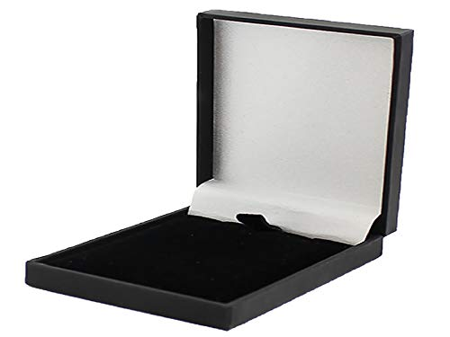 Slim Leatherette Jewellery Gift Box: Satin-lined for Necklace/Pendant (Economical to post) (Black)