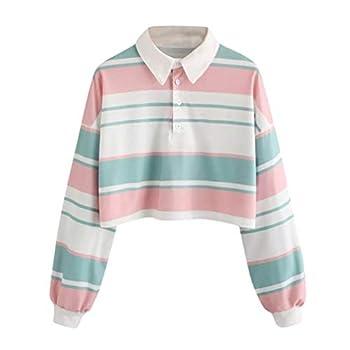 Women Teen Girls Fashion Turn-Down Collar Crop Top Sweatshirt Long Sleeve Color Block Pullover Shirts