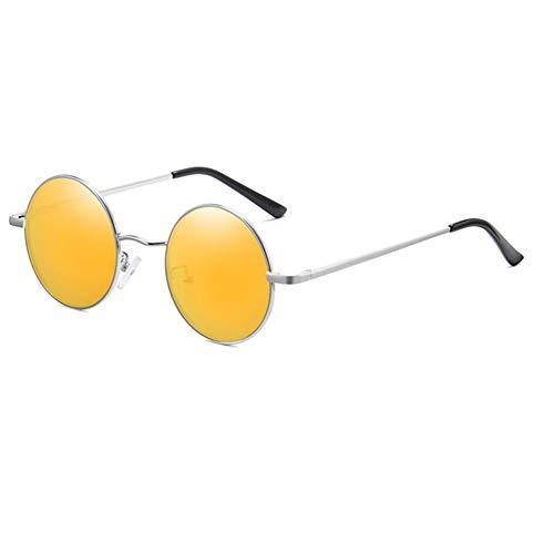 ECSD Klassieke kleine ronde zonnebril met metalen frame voor heren en dames, UV400 bescherming, unisex zonnebril zilver/oranje.