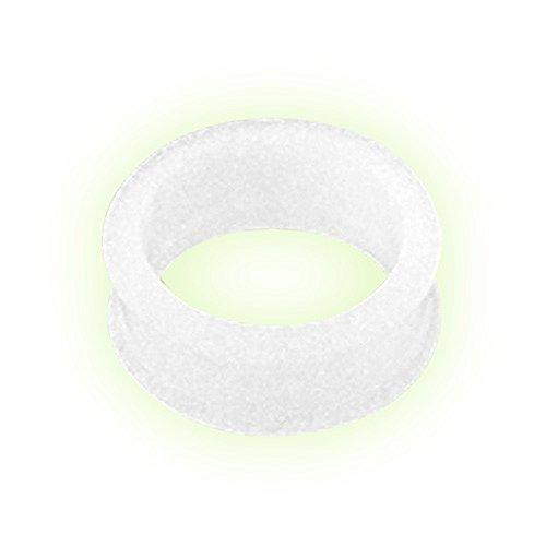 Taffstyle Piercing dilatador para la oreja, de silicona, flexible, brilla en la oscuridad, 8 mm, color blanco