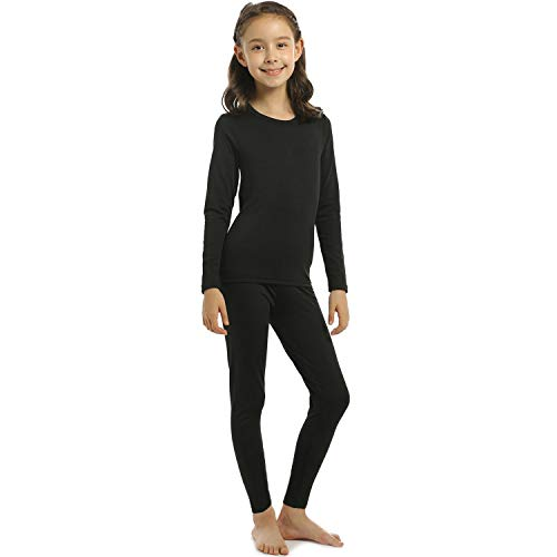 Girls Thermal Underwear Set Kids Long Johns Fleece Lined Top & Bottom Thermals Black