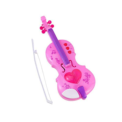WRJ Children Violin Toy Violin Beginner Pink Small Electric Violin for Playable Childhood Violin Toy Violin Violin Set Size Hamburger Child Friendly,Pink