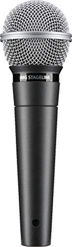 IMG STAGELINE DM-3 dynamische microfoon voor podium, spraak en zang, spraakversterker met supernier-karakteristiek incl. microfoonhouder, adapterschroef en microfoontas, zwart
